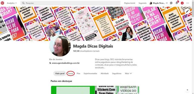 Pinterest: Perfil Magda Dicas Digitais