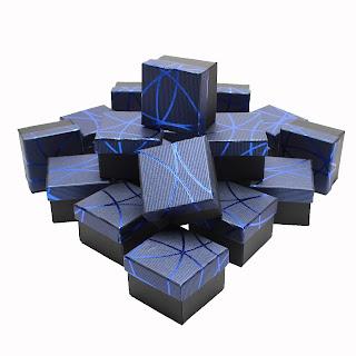 """Подарочная коробочка для бижутерии, под кольцо""""Блестящая полоска синяя"""" box19"""
