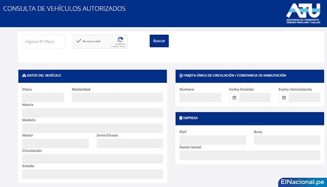 Consulta vehículos autorizados ATU en cuarentena
