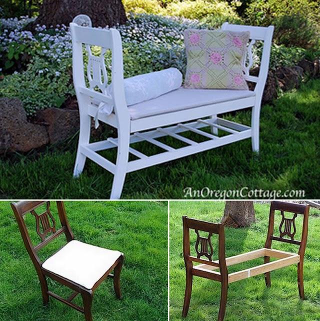 DIY Καναπέδες-Παγκάκια από παλιές Καρέκλες
