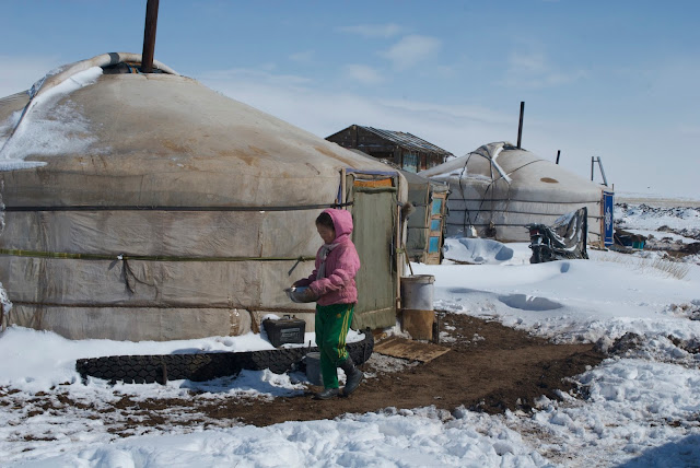 Mongolian gers in winter