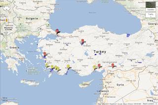 mapa Turcji z zaznaczonymi miejscami niedawnych zamachów