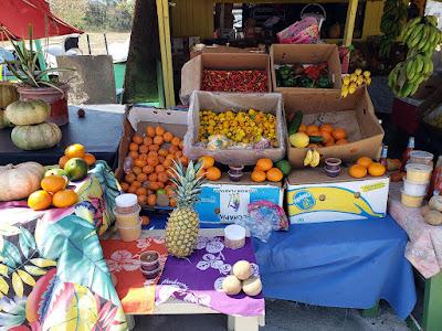 Colourfull fruit and vegetable roadside stall