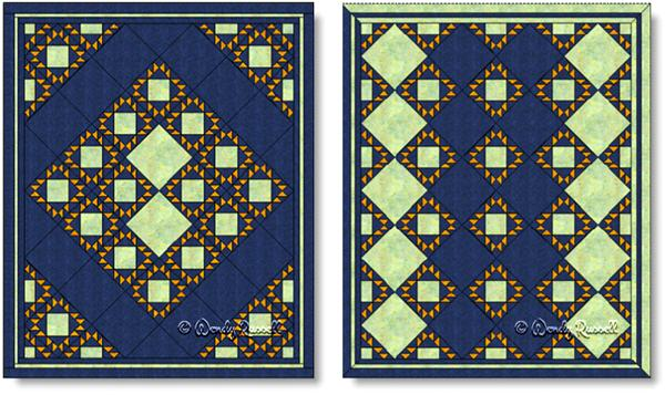Quilts designed using the KING'S CROWN quilt block - images © Wendy Russell