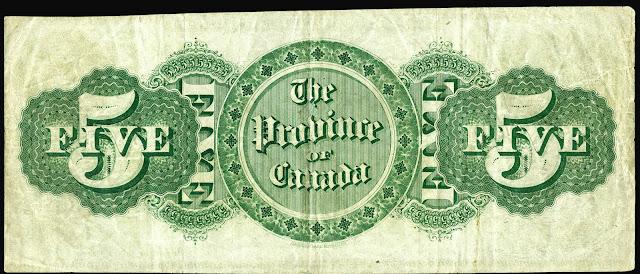 Province of Canada 5 Dollar Bill 1866