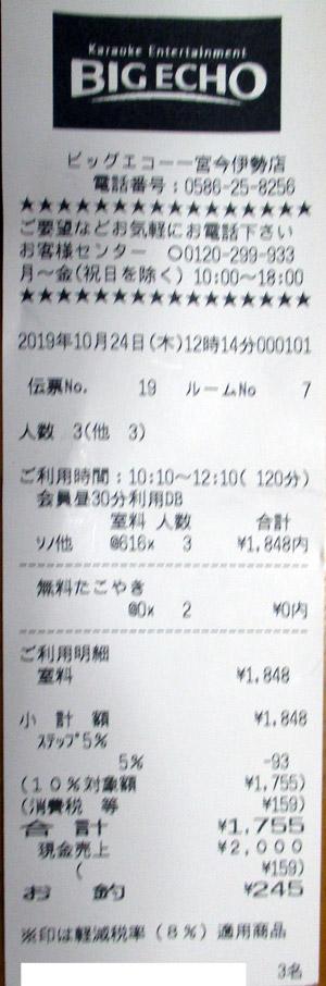 ビッグエコー 一宮今伊勢店 2019/10/24 利用のレシート