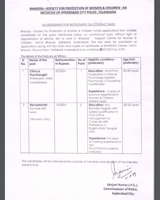 BHAROSA Support Centre Hyderabad Recruitment 2019 – Receptionist, Clinical Psychologist