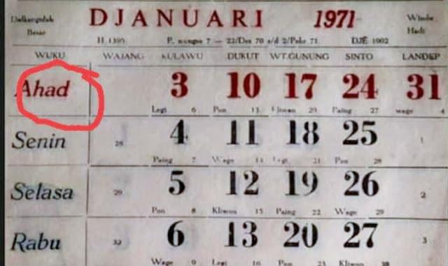 Ternyata Ini Kronologi Hari Ahad Diganti Minggu
