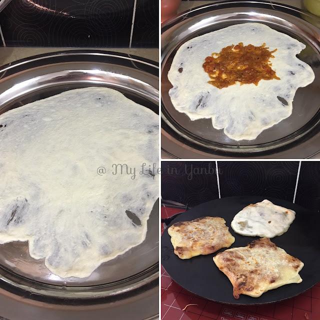 Algerian Mahjouba | Tomato Sauce Stuffed Semolina Flatbread