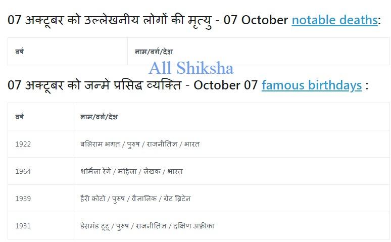 History of 07 October