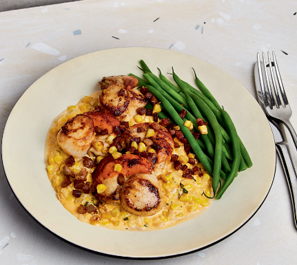 Scallops with Creamed Corn and Pancetta