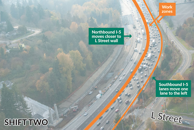 Photo of the second shift in traffic on I-5