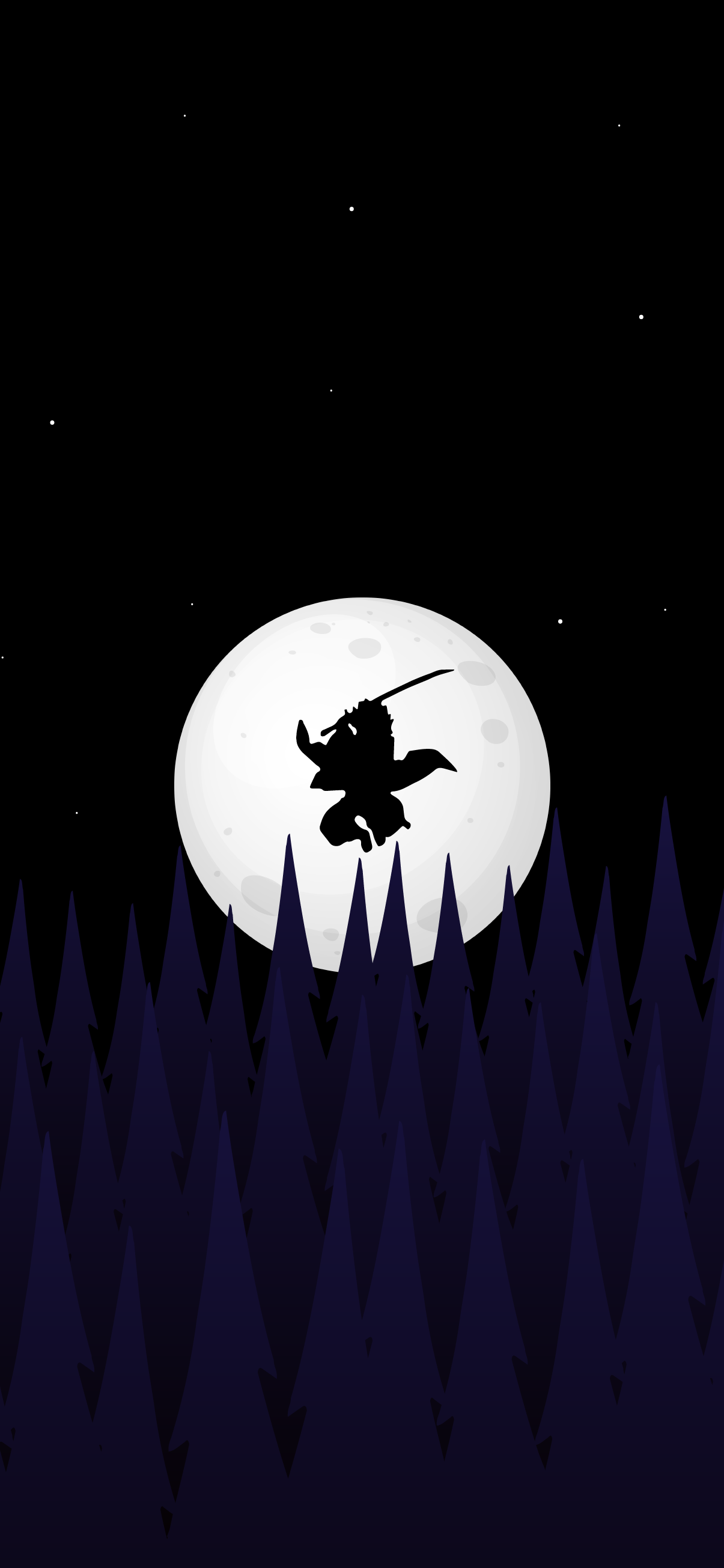 demon slayer anime wallpaper 4k tanjiro kamado silhouette forest night full moon