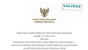 Download PKPU RI Nomor 37 Tahun 2018