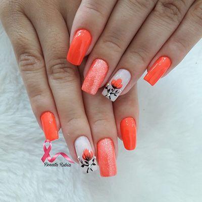 unhas decoradas laranja 7