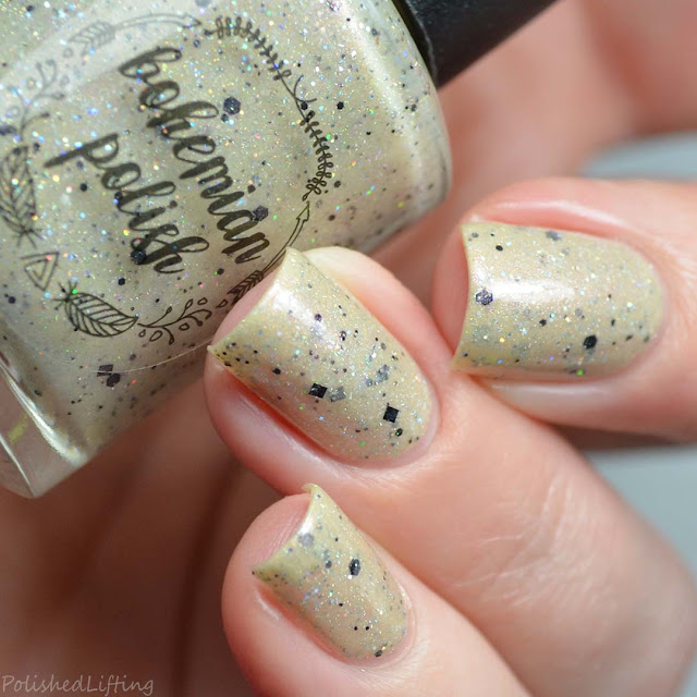 sand colored nail polish holo glitter