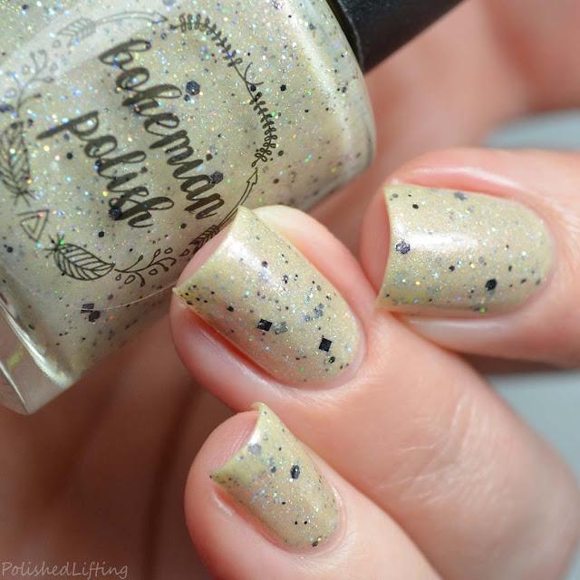 sand colored nail polish holo glitter
