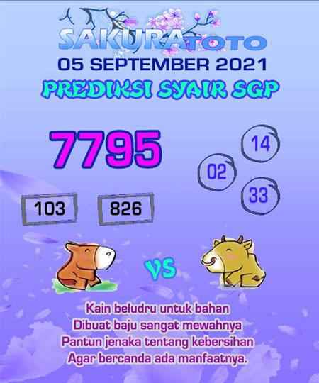 Syair SGP Minggu 05 September 2021