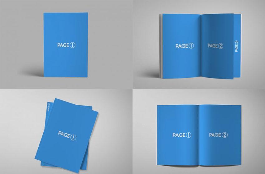 A4 Book Magazine PSD Mockup