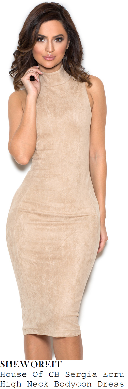 danielle-armstrong-house-of-cb-sergia-ecru-sand-high-neck-faux-suede-bodycon-dress
