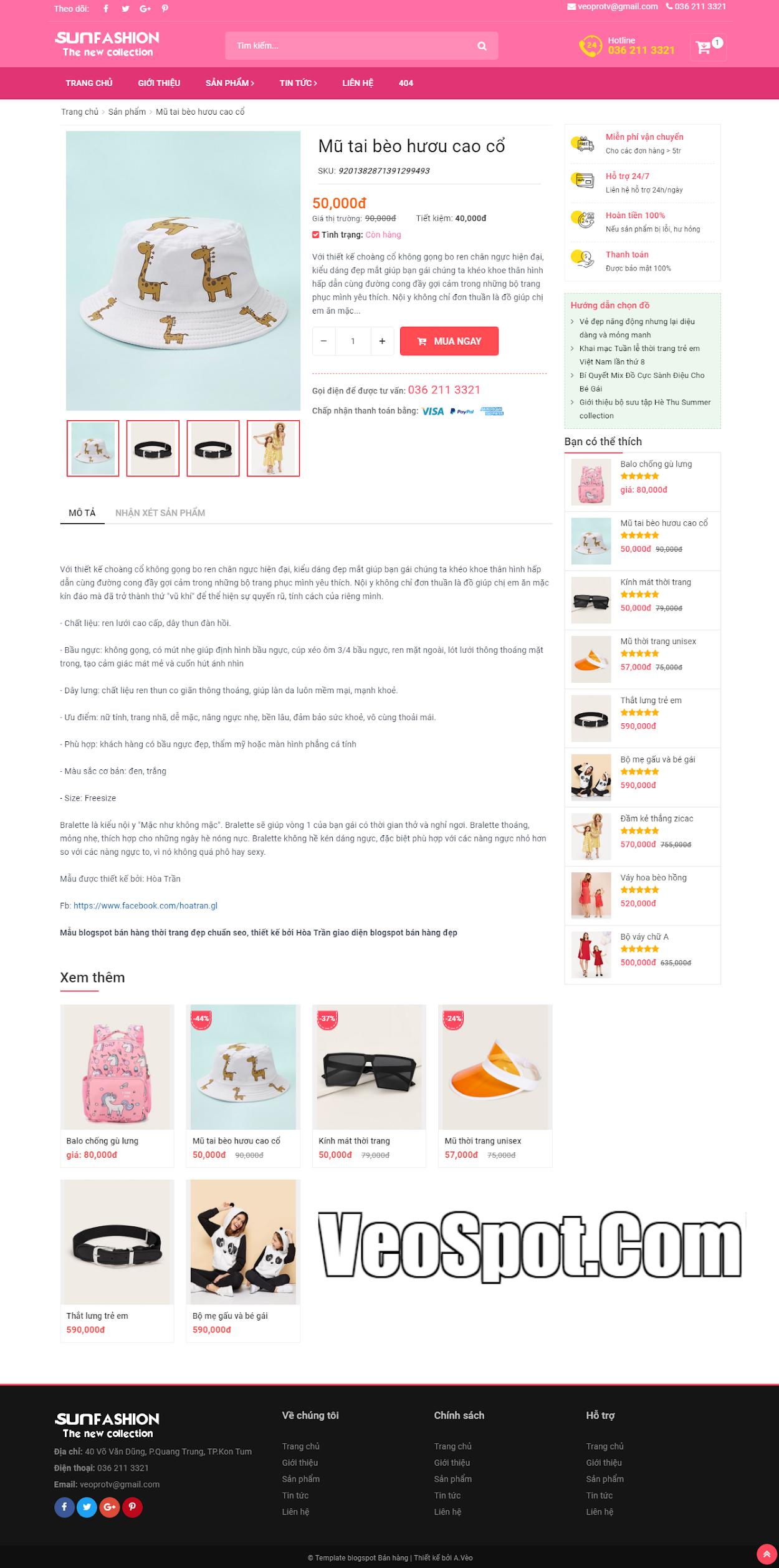 Template Blogspot SunFasun trang bài viết sản phẩm