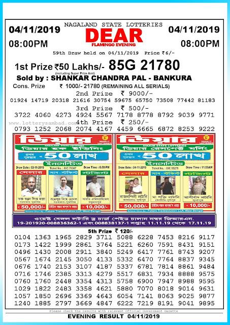 Lottery Sambad 04-11-2019 Nagaland State Lottery Result 08.00 PM-sambadlottery.org