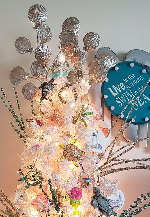 Silver Shells Christmas Tree Topper Idea
