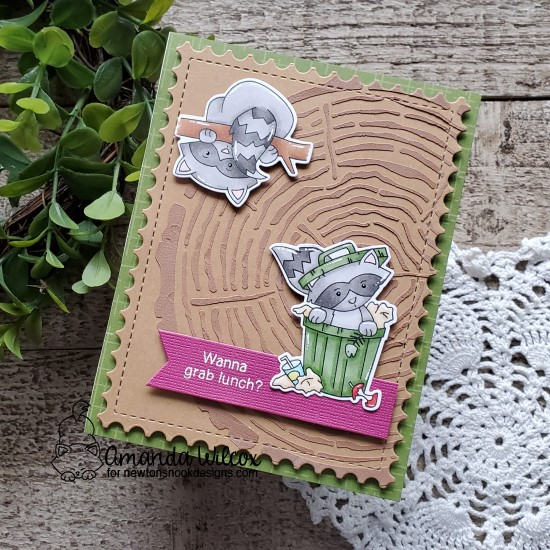 Raccoon card by Amanda Wilcox | Raccoon Rascals Stamp Set, Framework Die Set and Tree Rings Stencil from Newton's Nook Designs #newtonsnook #handmade