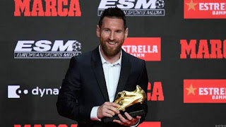Messi Presented with 6th European Golden Shoe