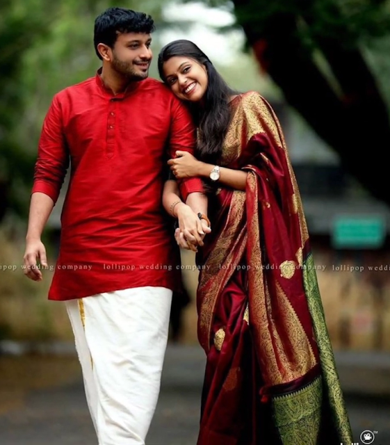 Photo pose for couple in saree and Kurtha