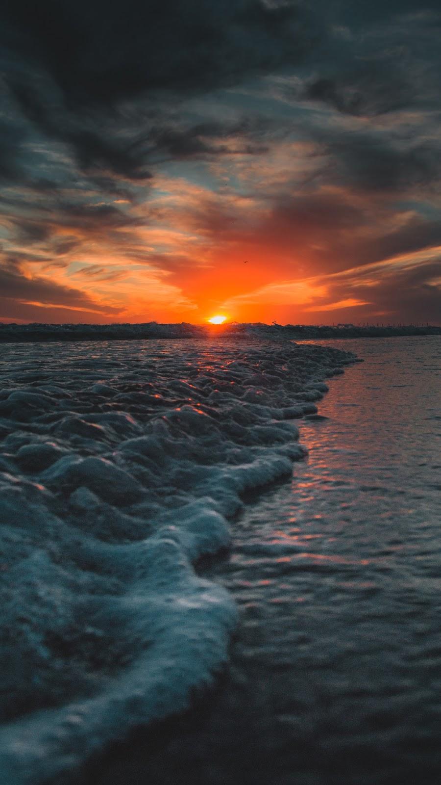 Hình nền hoàng hôn trên biển siêu chất