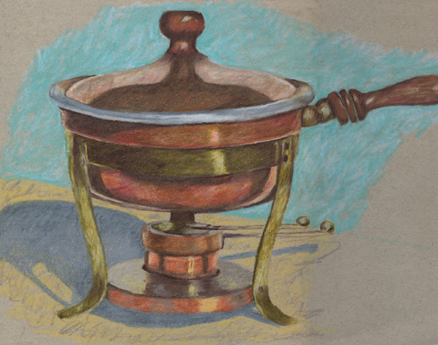Colored pencil drawing of copper chafing dish