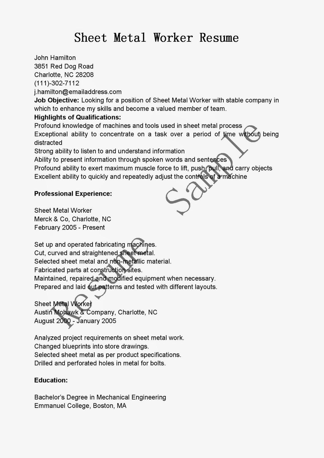 Resume Samples Sheet Metal Worker Resume Sample