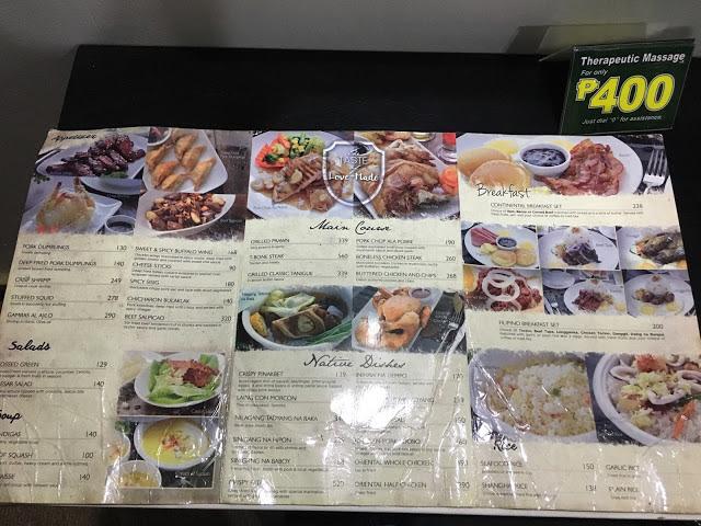 Eurotel Hotel Review Food Menu