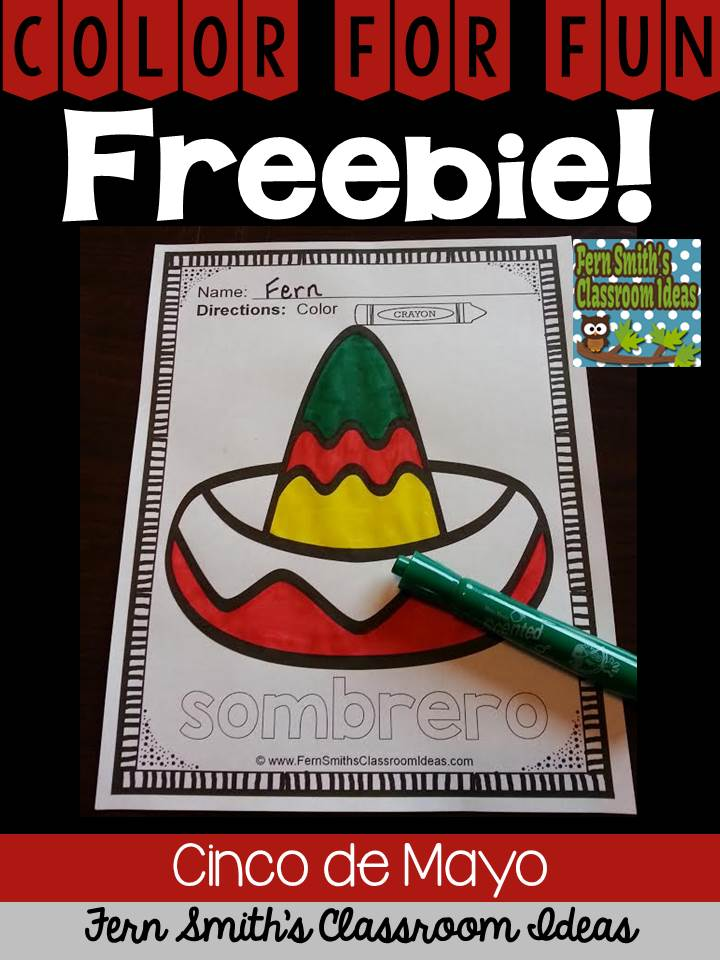 Fern Smith's Classroom Ideas Cinco de Mayo Color For Fun Freebie at TeachersPayTeachers