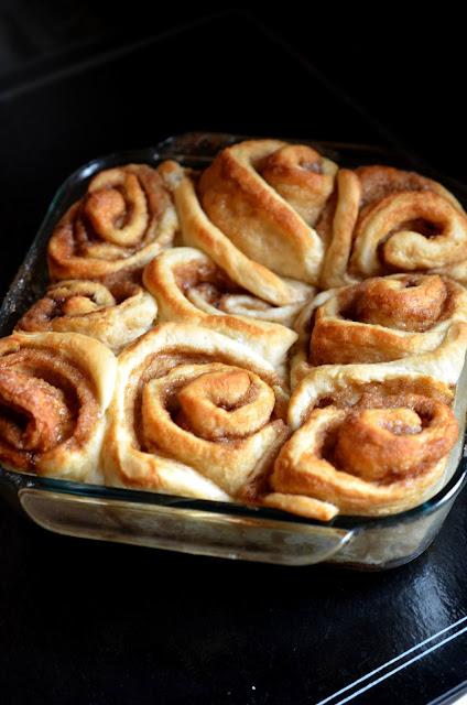 Fluffy Vegan Cinnamon Buns in a square pan