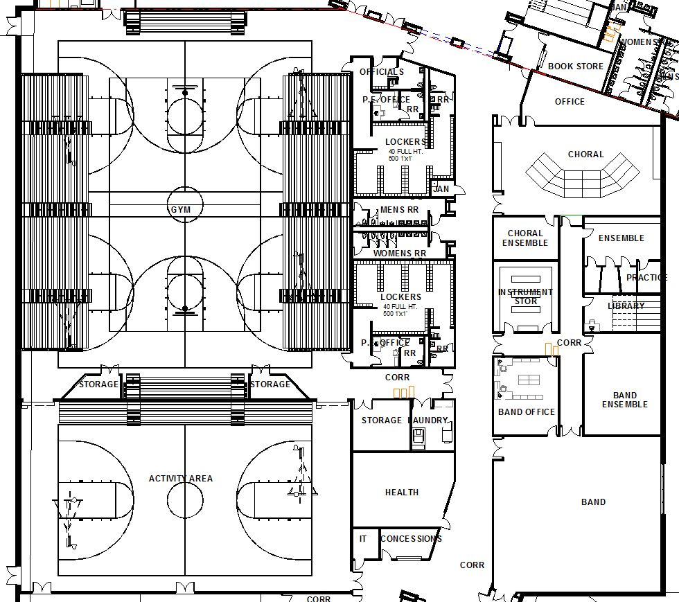 small resolution of the locker rooms have expanded to the west back wall of bleachers the locker layouts have been modified to include 500 box lockers 1 x 1 x 1 in each