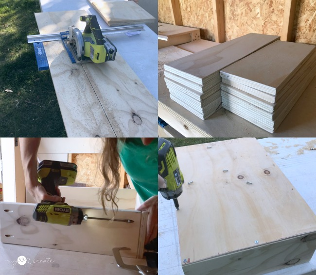 Cutting plywood to build drawers for a closet, MyLove2Create
