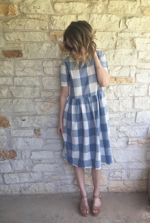 Clad and Cloth Picnic Dress, Gingham Dress, Clarks Clogs, Leather Clogs, Women's Gingham dress