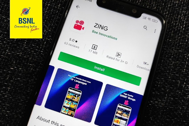BSNL customers can access ZING live streaming app with selected recharge plans from 1st December 2020; Latest ZING bundled Offers from BSNL