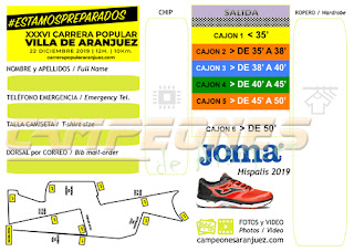 Carrera Popular Aranjuez 2019 Dorsales