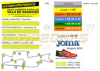 Carrera Popular Aranjuez 2019 Dorsales