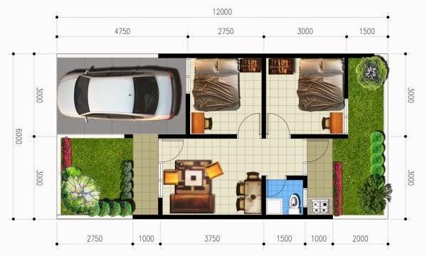 Denah Rumah Minimalis Type 36 yang nyaman dan modern