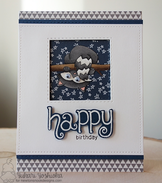 Happy Birthday Card by Yukari Yoshioka | Raccoon Rascals Stamp set by Newton's Nook Designs #newtonsnook