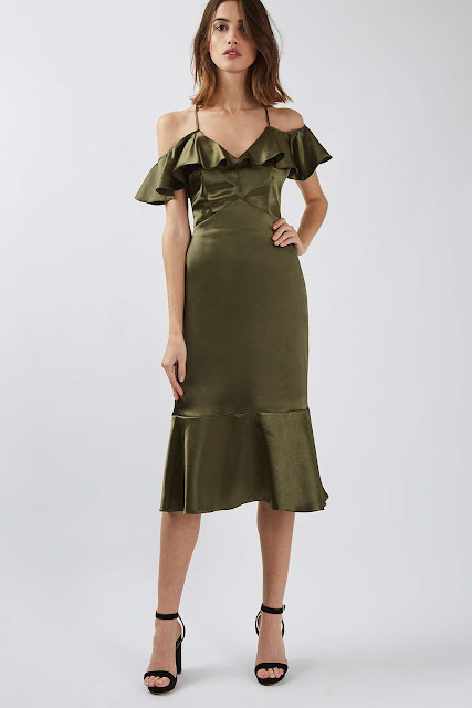 green satin dress, green frill dress,