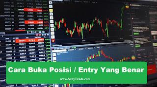 belajar entry buka posisi yang benar tepat profitable market buy sell profit trading saham forex support resisten range indikator analisa teknikal fundamental EMA 200 fibo