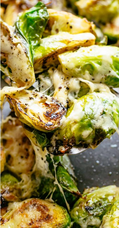 CHEESY GARLIC BRUSSELS SPROUTS