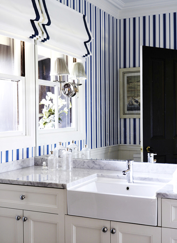 Bathrooms with bold patterned walls | Image by Lisa Cohen for Vogue Living Australia