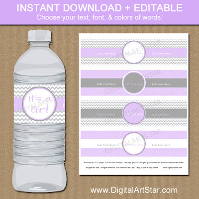 lavender & gray baby shower water bottle label printable with editable text