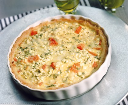 Greek quiche: feta basil or fresh goat basil peppers